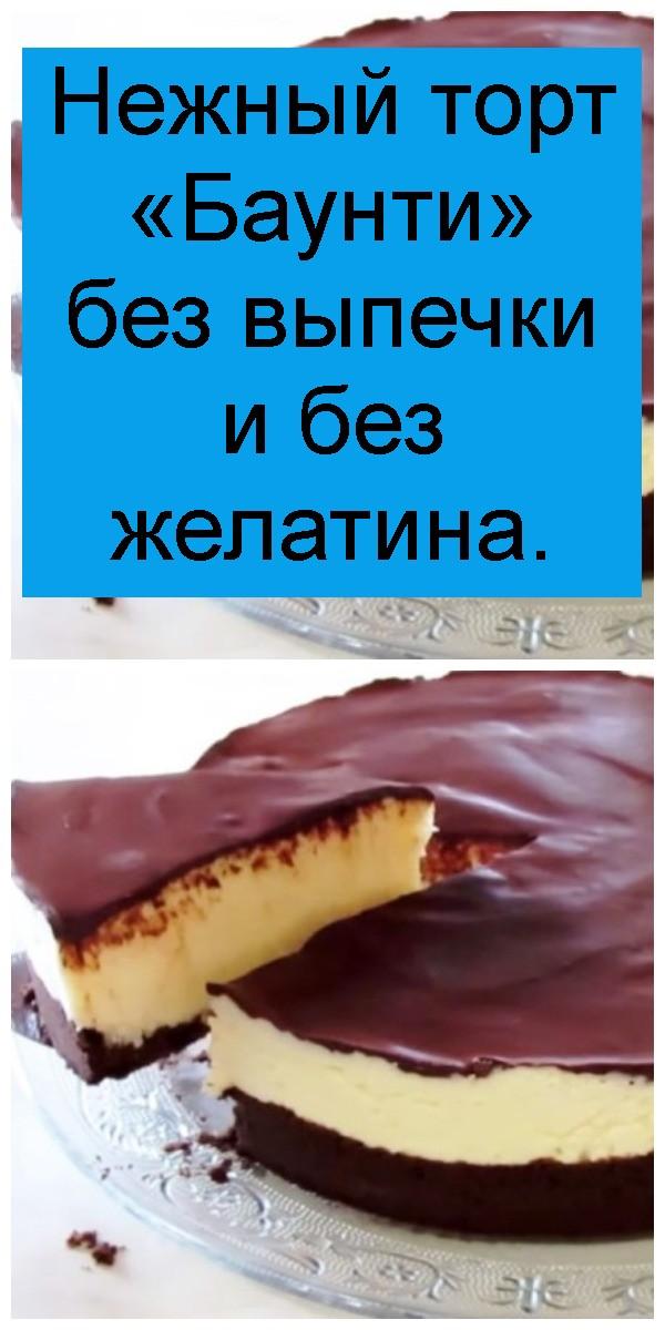 Нежный торт «Баунти» без выпечки и без желатина 4