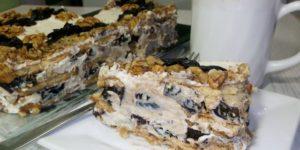 Быстрый и несложный! Торт без выпечки с черносливом и орехами 1